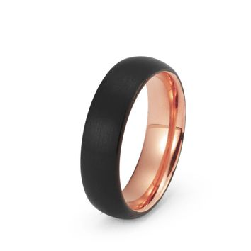 Black Tungsten Ring Rose Gold Wedding Band Ring Brushed Tungsten Carbide 6mm 18K Tungsten Ring Man Wedding Band Male Women Anniversary Matching