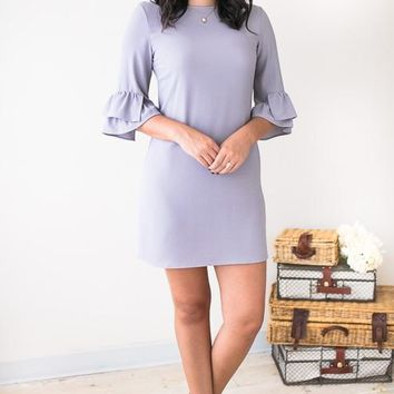 Beyond The Grey Sky Ruffle Sleeve Dress