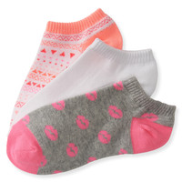 Aeropostale  3-Pack Geo, Solid & Kiss Ped Socks