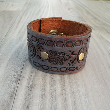 Blue Leather Cuff, Wide Tooled Leather Bracelet, Rustic, Weathered, Brass Rivets