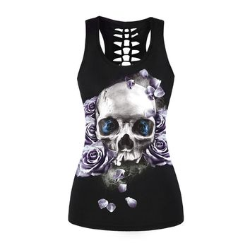 Women Butterfly Skull Printed T-shirts Purple Rose Summer Tops