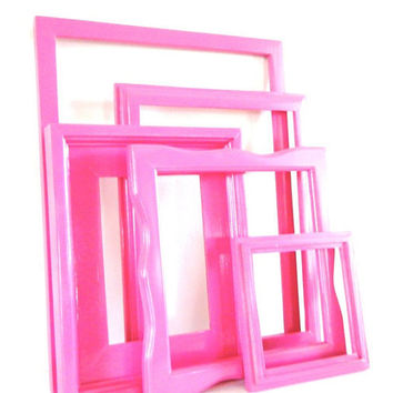 Bright Pink Picture Frame Set Wood Photo Frames Hot Pink Girls Room Decor Shabby Chic Home Decor Modern