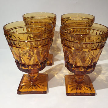 Indiana Glass Colony Park Lane Amber Wine Glasses Goblets, Amber Glass Goblets, Retro Mid Century Pressed Glass Stemware or Barware