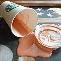 Fake Spilled 16 oz NL Cup of Coffee Latte With Cream Gag Prank Prop Fun Staging