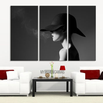 Black and White Smoking Women 3 Panel Wall Art Canvas Print
