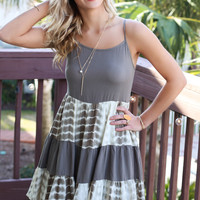Keep Smiling Tie Dye Tiered Strappy Dress With Adjustable Lace Up Back