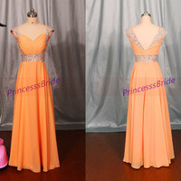 Long orange chiffon prom dresses in 2014,floor length women gowns for wedding party,cheap elegant bridesmaid dress hot.