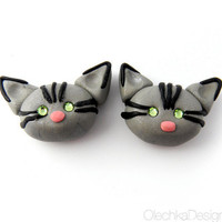 Grey Tabby Cat Magnets - Hand-made from Polymer Clay and Swarovski rhinestones