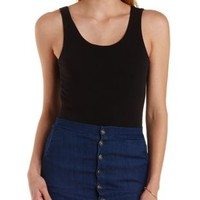 Black Sleeveless Low Back Bodysuit by Charlotte Russe