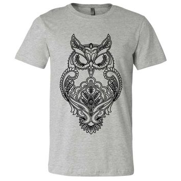 Mystical Owl Stencil Black Asst Colors Mens Fitted Tee
