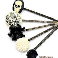 Toile Bouquet with Skull Bobby Pin Set FREE shipping by lizhutnick