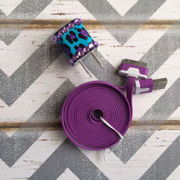 New Super Cute Jeweled Purple/Turquoise Blue Cheetah Print Designed USB Wall Connector + 6ft Flat Purple iPhone 4/4g/4s Cable Cord