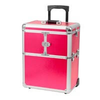 Pink With Silver Trim Rolling Wheel Cosmetic Hair Makeup Aluminum Train Lockable Case Organizer