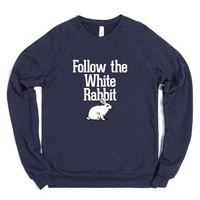 Follow the White Rabbit-Unisex Navy Sweatshirt