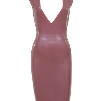 'Irina' Deep V Latex Dress - Pink