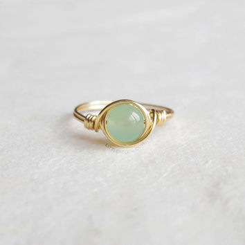 Mint Green Jade Ring - unique rings - wire wrapped ring - bohemian jewelry