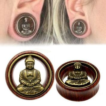 ac DCCKO2Q Fashion 1 Pair Wood Buddha Ear Plugs Double Flared Flesh Tunnel Gauges For Women Men Body Piercing Jewelry 8-20mm