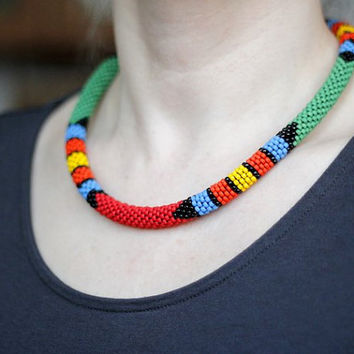 JANUARY SALE Colorful African Necklace, African Inspired Necklace, Multicolored Necklace, Tribal Necklace, Maasai Style Necklace, Zulu Inspi
