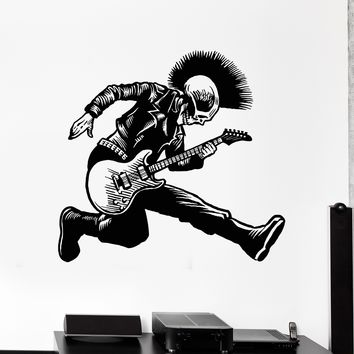 Vinyl Wall Decal Skeleton Punk Rock Musician Music Stickers Unique Gift (ig4239)