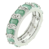 Aqua Eternity Enamel Ring, size : 09