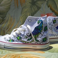 Hand Painted Converse - Peacock design