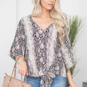 Snake Dolman Wide Sleeve Knot Top