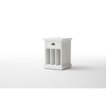 Halifax Bedside Table with dividers White semi-glosspaint with a smooth top coat