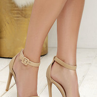 Chance of a Lifetime Nude Ankle Strap Heels
