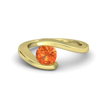 Round Fire Opal 18K Yellow Gold Ring