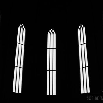 Windows print, window canvas. Architecture,  black and white photography, abstract picture, monochromatic fine art photography, framed print