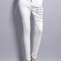 Fancy White Graffiti Harem Pants - OASAP.com