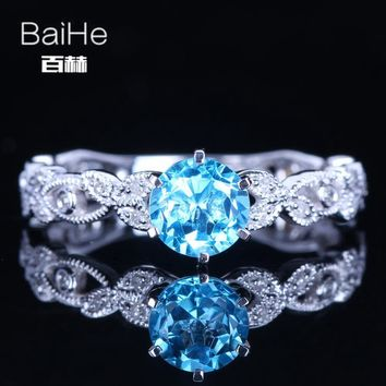 BAIHE Sterling Silver 925 1.179ct Certified Blue Flawless Round Genuine Blue Topaz Wedding Women Office/career Fine Jewelry Ring