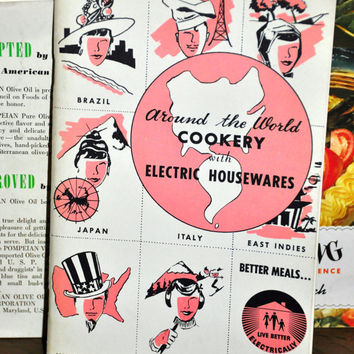 "1950s Vintage Cookbook Booklet. Around the World Cookery with Electric Hosuewares. ""Live Better Electrically."" Paper Ephemera."
