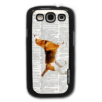 Beagle Dog On Dictionary Retro Vintage Dog Lover - Protective Designer BLACK Case - Fits Samsung Galaxy S3 SIII i9300