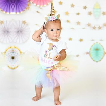 First Birthday Girl Party Unicorn Outfit Brand Design 1st Years Infant Clothing Girls My litter Girl Princess Unicornio Dress
