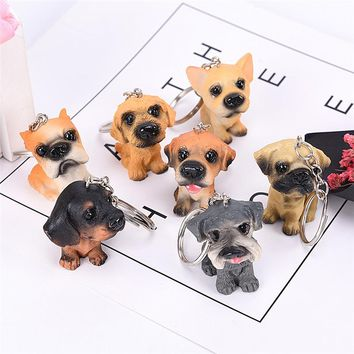 Lovely 3D Resin Animal Pet Dogs Key Ring Keychains Gift For Woman Jewelry Dog Key Chain