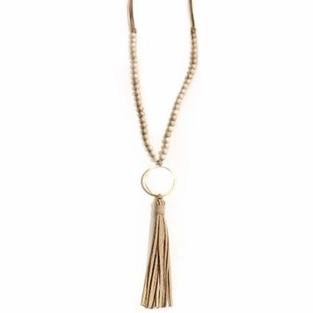 Abbess Gold Circle Tassel Necklace