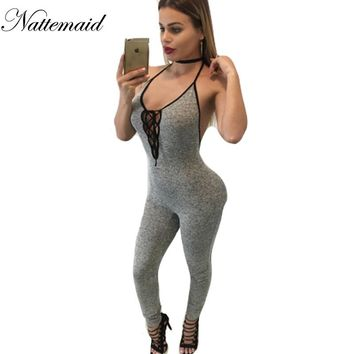 New arrival spaghetti straps cotton solid grey bodysuit backless sexy women long jumpsuits