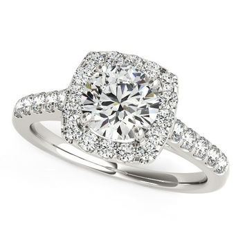 Round Cut with Square Shape Halo Diamond Engagement Ring in 14K White Gold (1 1/2 ct. tw.)