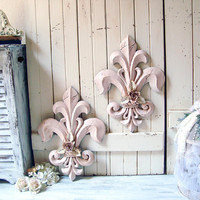 Blush Pink Fleur De Lis Wall Hangings, Pink Ornate Floral Wall Plaques Shabby Chic Wall Decor French Cottage Pink Wall Plaques Nursery Decor
