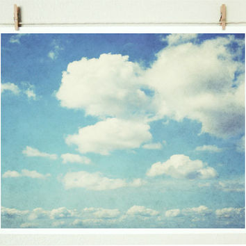 Cloud Photograph - pale blue sky photograph nature photography nursery decor wall art - 8x10 Cloudbursting