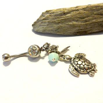 Silver Sea Turtle Belly Button Ring