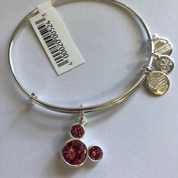 Dinsye Mickey Mouse Birthstone Bangle by Alex and Ani October Silver Finish New