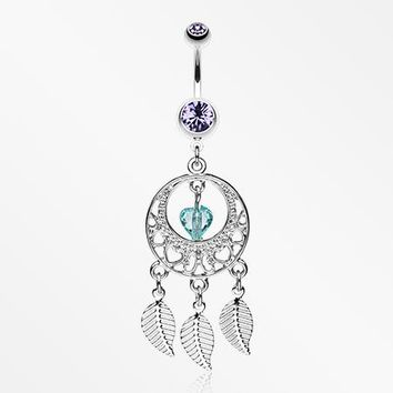 Heart Hoop Dream Catcher Belly Ring