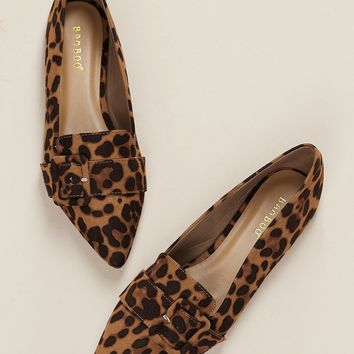 Buckle Accent Pointy Toe Leopard Flats