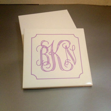 Monogram Ceramic Coaster Set - Monogrammed Tile Coasters - Personalized - Customized - White - Made to Order - Your choice of color monogram