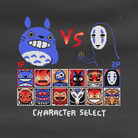 Totoro VS No face Street Fighter mononoke kiki's delivery ponyo spirited away Laputa  Sock Tee T-shirt