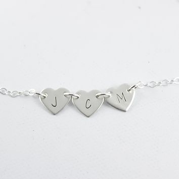 Initial Heart Necklace - 1-4 Hearts with initials - Sterling Silver
