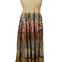 Mogul Interior Womens Long Dresses Spaghetti Straps Bohemian Flare Dress S/M (Beige,Brown): Amazon.ca: Clothing & Accessories