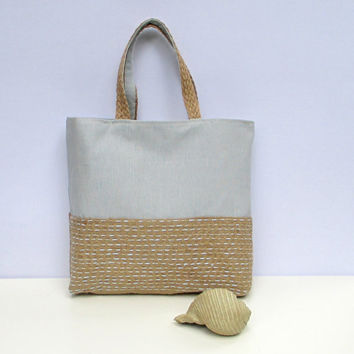 Blue canvas and natural color jute combination tote bag, hand embroidered summer tote, all to carry chic, unique and simple tote bag